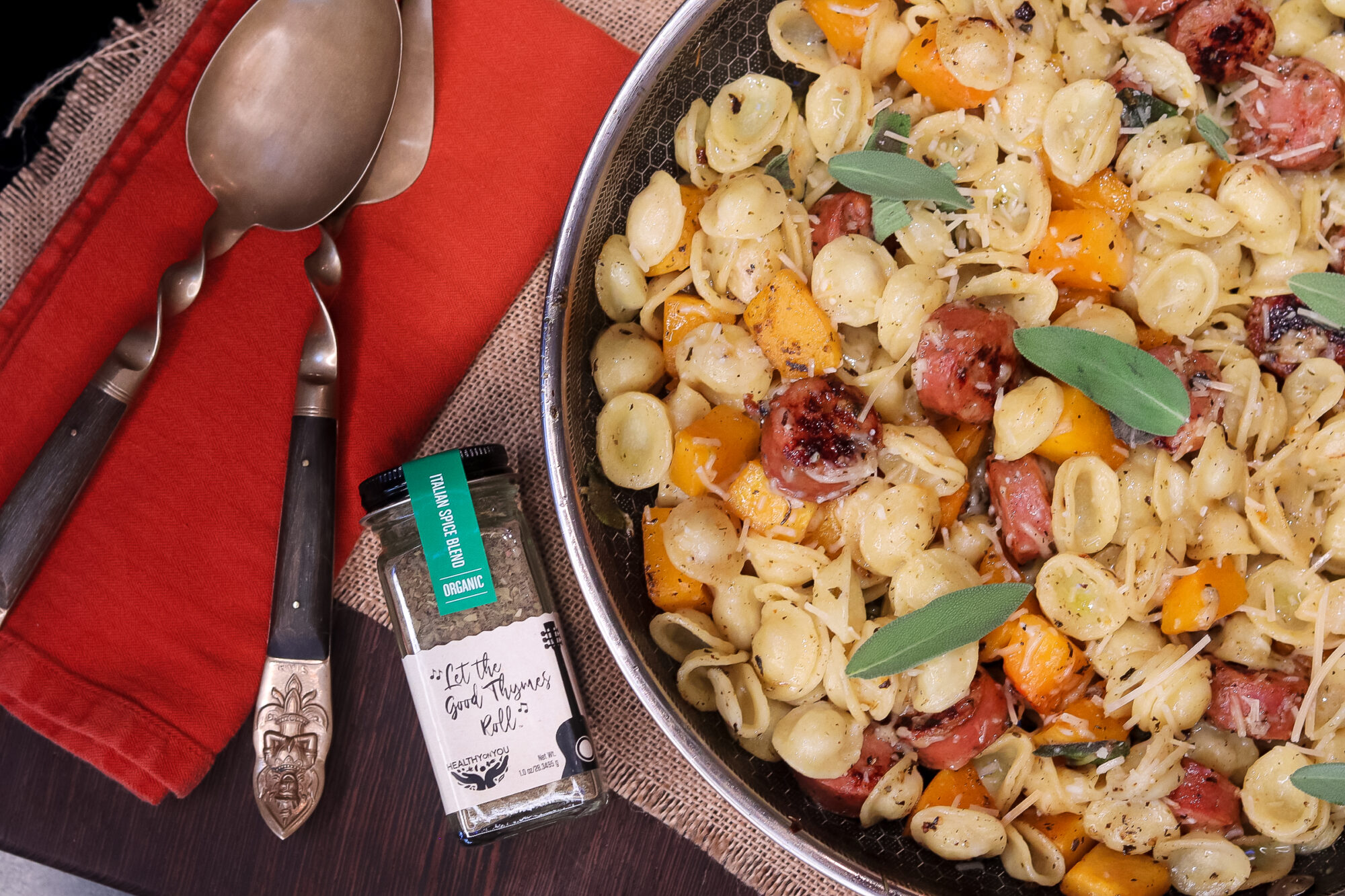 Pasta with Sausage, Squash and Sage
